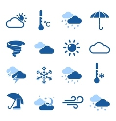 Weather forecast blue icon set vector