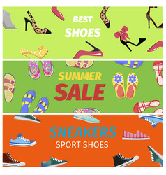 Best summer sale of sneakers sport shoes banners vector