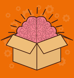 Box with brain icon vector