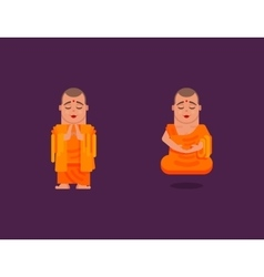 Buddhist monk is meditating in a flat style vector image