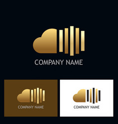 Cloud line gold technology logo vector