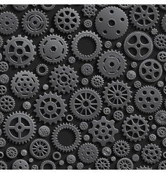Creative black gears 3d seamless pattern vector