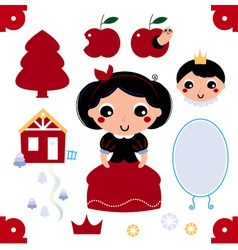 Cute snow white collection vector