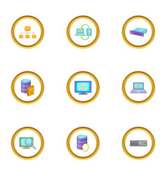 database icons set cartoon style vector image