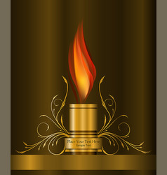 decorative gold element with flame vector image