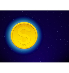 Dollar on starry sky vector