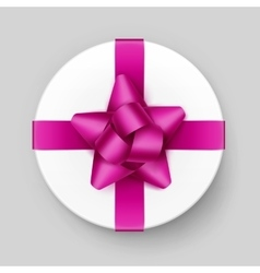 Gift box with pink bow and ribbon isolated vector