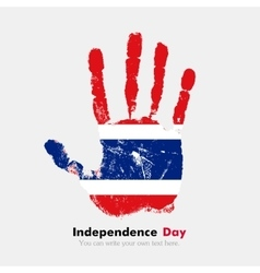 Handprint with the flag of thailand in grunge vector