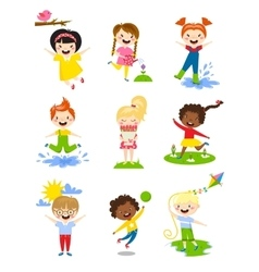 Little kids happy spring playing watering flowers vector