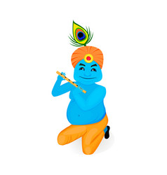 Lord krishana in cartoon vector