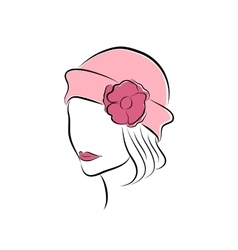 Lovely girl in a pink hat with flower vector