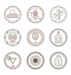 mexican emblems vector image vector image