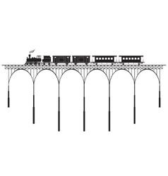 Openwork bridge and locomotive vector