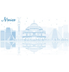 Outline mexico skyline with blue buildings vector