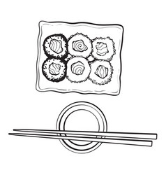 plate of japanese sushi rolls chosticks and soy vector image