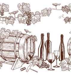Seamless horizontal borders of sketch wine icons vector
