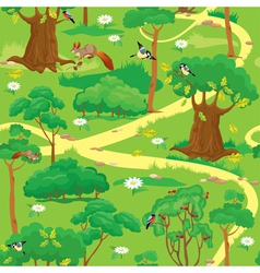 Seamless pattern - green forest landscape vector