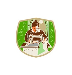 Seamstress Dressmaker Sewing Shield Retro vector image