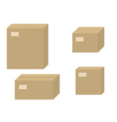 Set brown cardboard boxes closed carton box vector