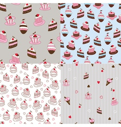 Set of cake seamless patterns vector image