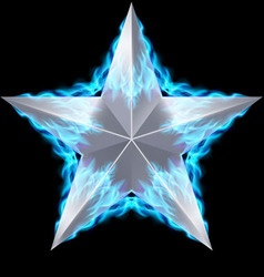 Silver star surrounded by blue fire vector image