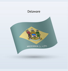state of delaware flag waving form vector image