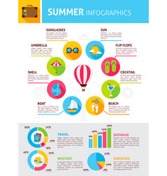 Summer flat infographic vector