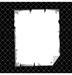 vertical torn sheet in blank over black texture vector image vector image