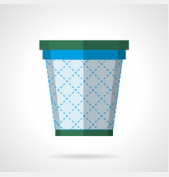 wastepaper basket flat color icon vector image