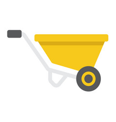 wheelbarrow flat icon build and repair vector image