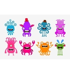 Set of cheerful and terrible monsters ghosts vector