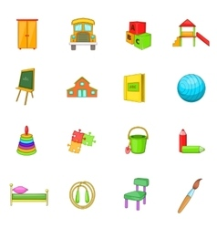 Kindergarten security icons set cartoon style vector