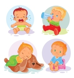 Set of icons toddlers vector