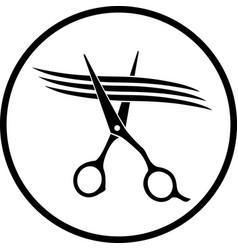 Scissors cutting strand of hair vector