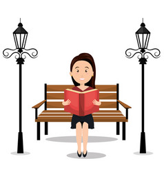 person reading on the park vector image
