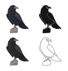 Crow of viking god icon in cartoon style isolated vector