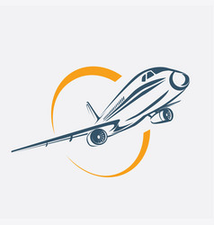 airplane symbol aircraft stylized icon vector image
