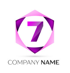 number seven symbol in colorful hexagonal vector image
