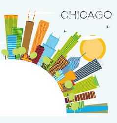 Chicago skyline with color buildings and copy vector