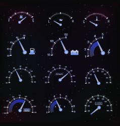 Dark speedometer interface icon set vector