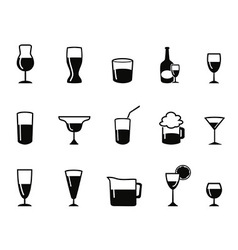 Alcohol icons set vector