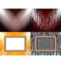Set of blank frame on a color wall lighting vector