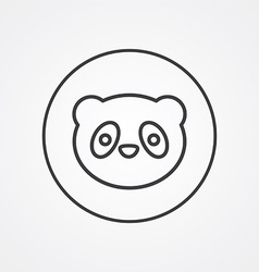 Panda outline symbol dark on white background logo vector