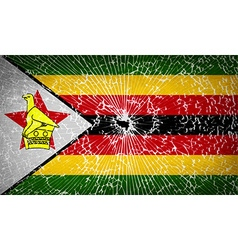 Flags zimbabwe with broken glass texture vector
