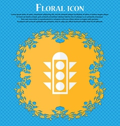 Traffic light signal icon sign floral flat design vector