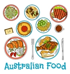 Authentic dishes of australian cuisine sketch vector