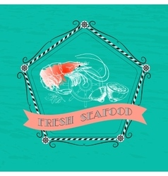 Shrimp silhouette nautical accessory vector