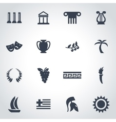 Black greece icon set vector