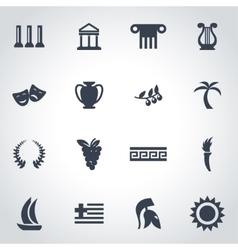 black greece icon set vector image