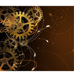 Abstract mechanical background with floral element vector image